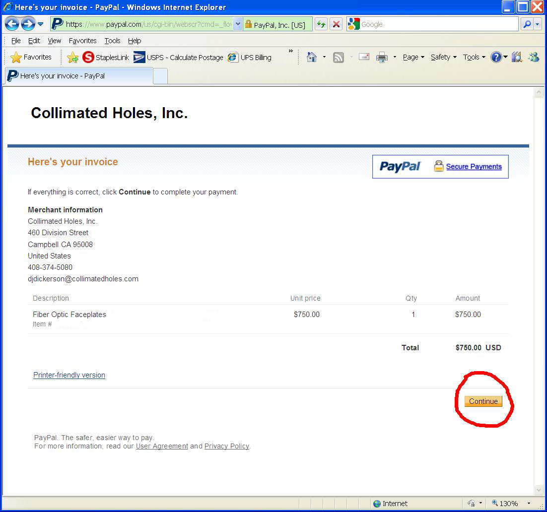 credit card payment instructions using paypal collimated holes inc